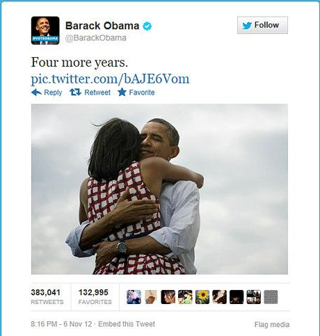 Figure 11 : Capture du tweet de Barack Obama : message le plus retweeté de l'histoire de la plate-forme.