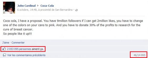 Figure 12 : Capture du message posté par John Cardinal sur le mur de Coca-Cola : message le plus liké de l'histoire de Facebook.