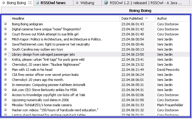 Figure 6 : Interface d'un agrégateur de flux RSS – RSS Owl.